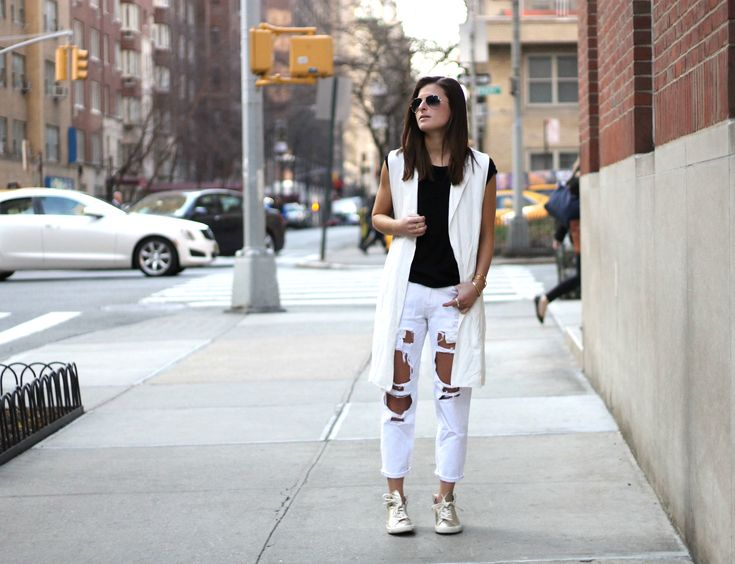 Paper Trail | #ifchic24 #Veja metallic high top sneakers, #UrbanOutfitters white distressed boyfriend fit jeans, #Forever21 white sleeveless longline blazer, spring fashion, nyc street style, spring outfit ideas, fashion blogger #tobebright