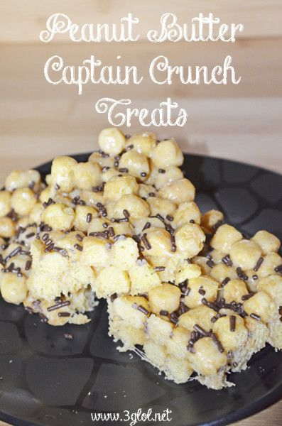 Peanut Butter Captain Crunch Treats. Captain Crunch cereal and marshmallows.  Great for breakfast or after school snack. #cerealbar #afternooonsnack http://www.3glol.net