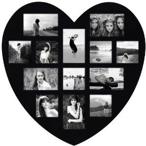 Birthday gift:Adeco [PF0304] 13 Openings Heart Picture Collage Frame - Holds Seven 4x4 and Six 4x6 Inch Photos - Heart Shaped Wood Photo Collage Decoration - Black, for Wall Hanging
