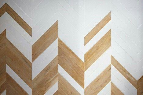 Herringbone wood and tile flooring