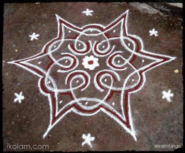 Rangoli Rev's chikku kolam 69. 5 to 3 interlaced dots. | m.iKolam.com