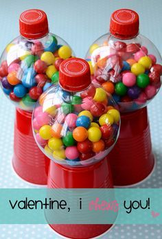 Gumball machine - solo cup and round coke bottles. DYI CRAFTS Cute party favor. A great easy craft for kids to make for someone special on Valentine's Day! Gift for School Teacher, coach, grandparent...etc