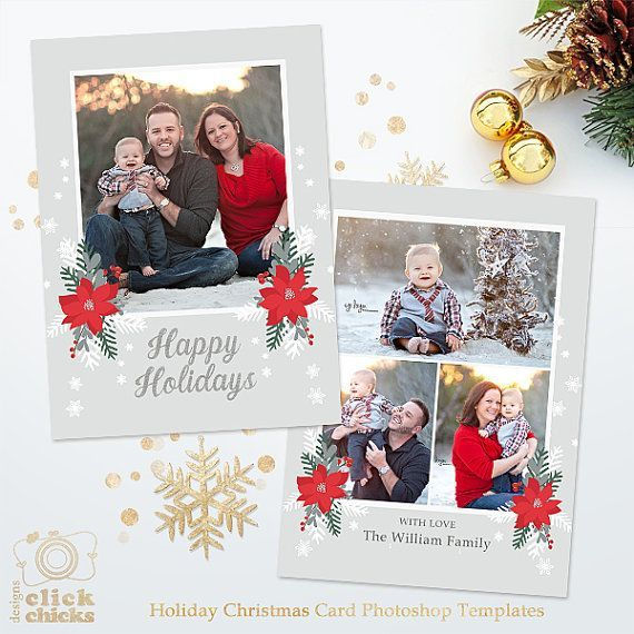 Holiday Christmas Card Template For Photographers 5x7 Photo Etsy Christmas Card Template Christmas Cards Christmas Card Photoshop