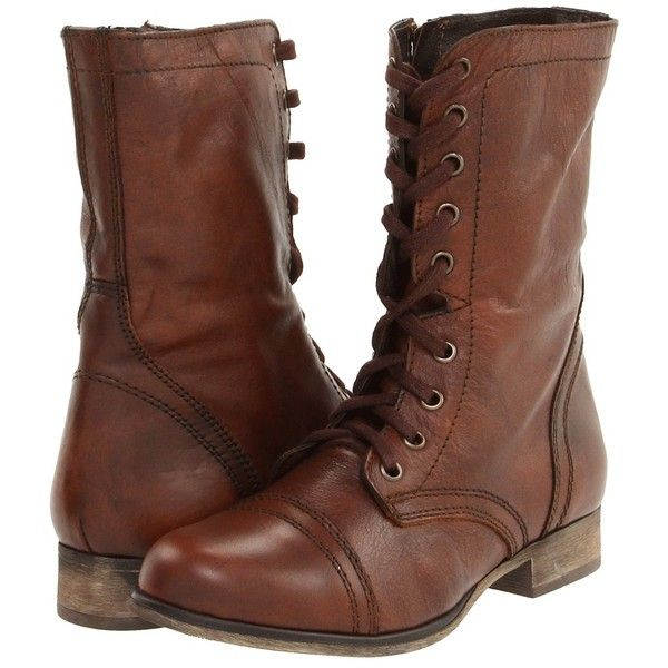 Steve Madden Troopa (Brown Leather) Women's Lace up casual Shoes ($80) ❤ liked on Polyvore featuring shoes, boots, ankle booties, botas, zapatos, ankle boots, low heel ankle boots, leather ankle boots, brown booties and brown lace up booties