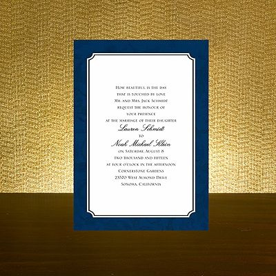 navy invitation from bed bath and beyond - Bed Bath And Beyond Wedding Invitations