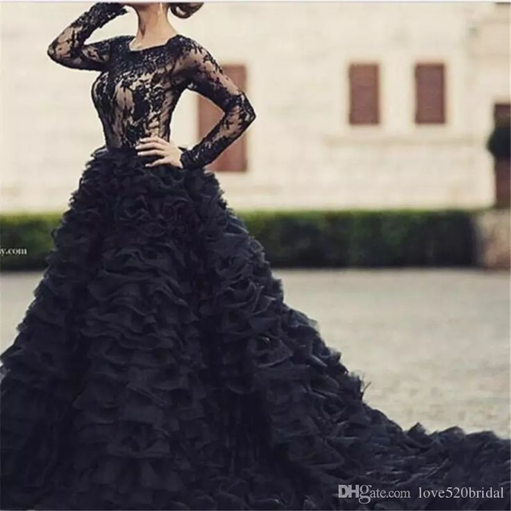 Discount Gothic 2017 New Black Long Sleeve Wedding Dresses: 17 Best Ideas About Black Ball Gowns On Pinterest