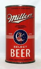 """Miller """"High Life"""" Select Beer 12 oz. OI Flat Top Beer Can-Milwaukee, WI."""