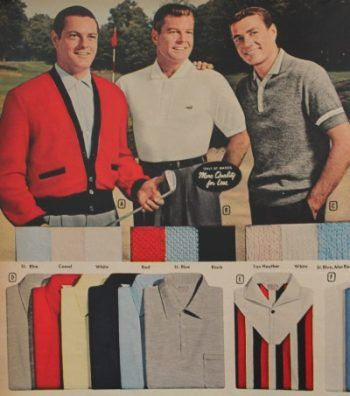 1950s mens polo shirts, knit shirts and cardigan for golf (1958)