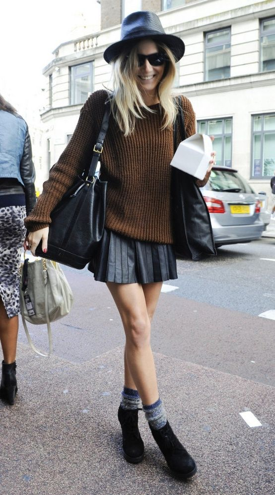Love this skirt and sweater combo!