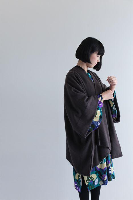 """kisaragi"" new poncho style winter coat with Japanese touch, $128 #poncho,#kimono,#sousou,#japan"