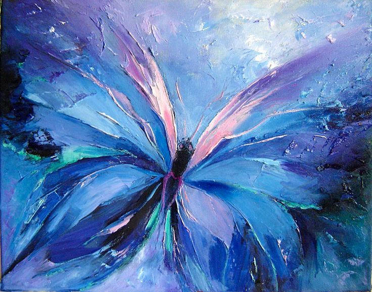 I love this beautiful blue butterfly painting, the colors are amazing! Looks like palette knife painting.