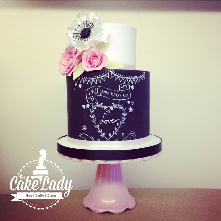 All You Need Is Love (Chalkboard Cake) - A two tiered chalkboard wedding cake design.