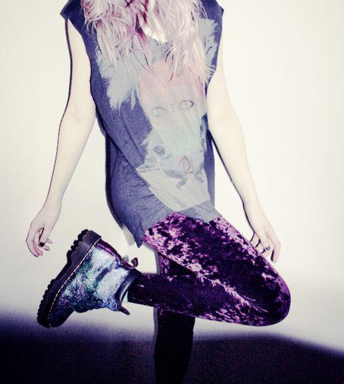 Grunge Fashion, velvet leggings and docs
