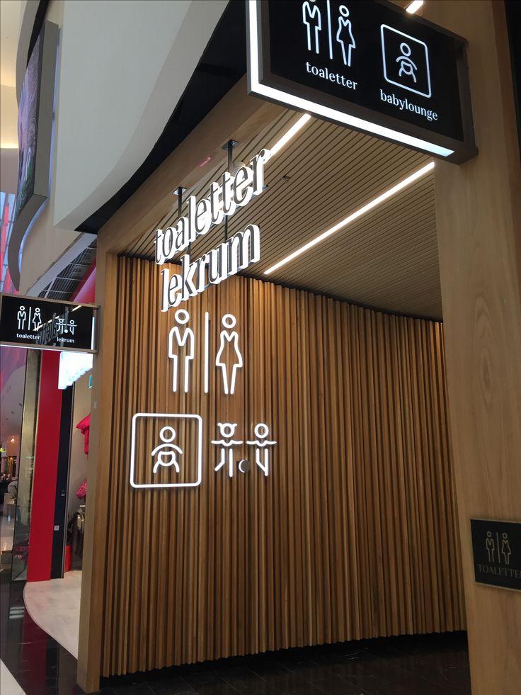 Entrance to restroom corridor in Mall of Scandinavia