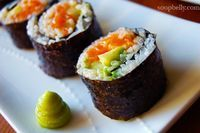 3 sushi roll recipes - spicy salmon, philadelphia, and shrimp tempura rolls