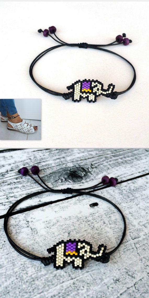 Anklet Bracelet, Foot Jewelry, Elephant Bracelet, Boho Anklet, Minimalist Animal Gift, Miyuki Adjustable Bracelet, Birthday Gift #animaljewelry #anklet #elephantsjewelry #etsyseller