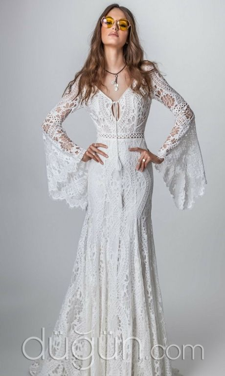 Long Sleeve Bohemian Wedding Dress
