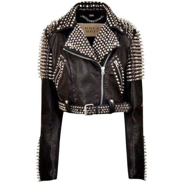 Pre-owned Burberry Brit Biker Motocycle Leather Studded Spiked Black... found on Polyvore