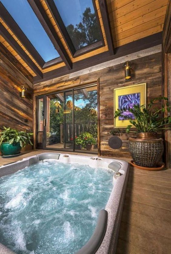 25 Stunning Inground Hot Tub Ideas For Your Relaxing Space Decortrendy Indoor Hot Tub Small Indoor Pool Indoor Pool Design