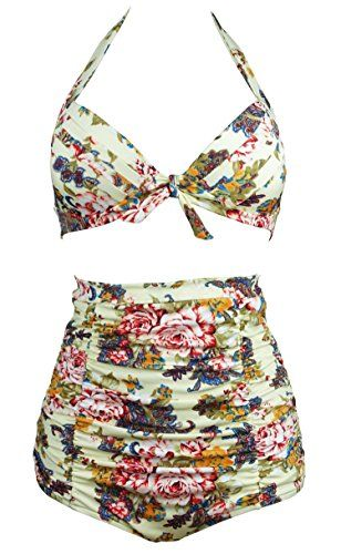 Cocoship Retro Beige & Peony Floral Halter High Waisted Bikini Bathing Suit Swimsuit XL(FBA)
