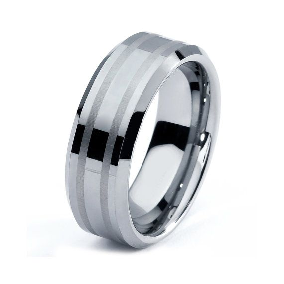 Tungsten Wedding Bands For Men On An Etsy Website That Has Over 200 Great Reviews And