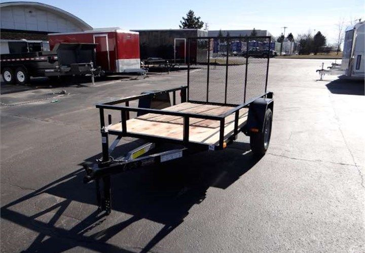 """Open Black 5' x 8' Utility Trailer. This Is a Very Nice 5' x 8' Utility Trailer with a Rear Ramp Gate, 2"""" x 8"""" Wood Decking, and 12"""" Railing. $1,295 Any applicable fees and taxes are extra. Ref # J1063401, J1063402 