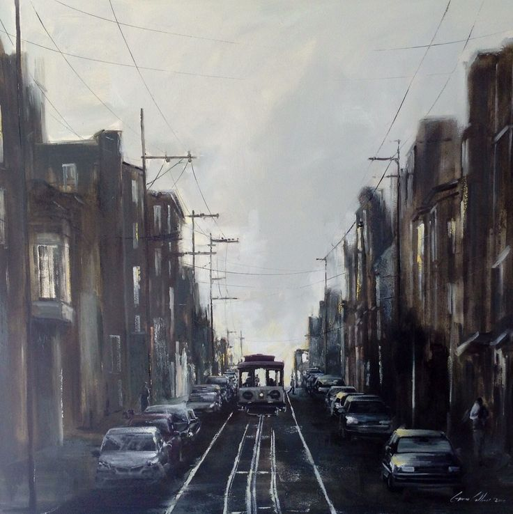 "Gavin Collins Paintings Title: ""San Francisco Trams"" Size: 1,5m x 1,5m"