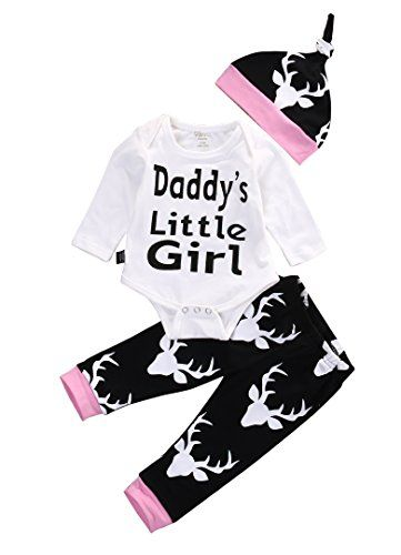 baby clothing | Baby Girls Daddy's Little Girl Long Sleeve Bodysuit and Deer Pants Outfit with Hat (12-18M, White+Black)