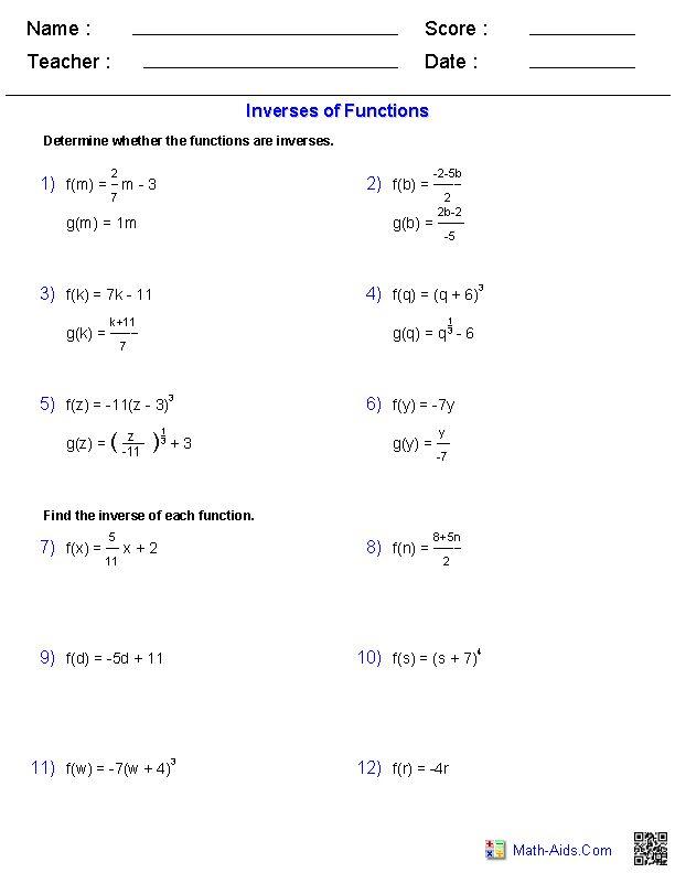 inverse functions and logarithms worksheets math aids com pinterest worksheets algebra. Black Bedroom Furniture Sets. Home Design Ideas