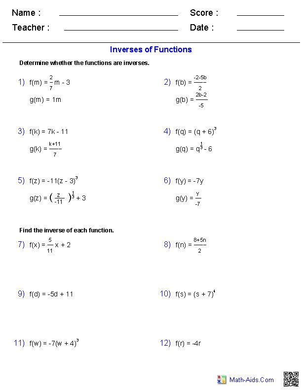 Printables Pre Calc Worksheets worksheets on pinterest inverse functions and logarithms worksheets