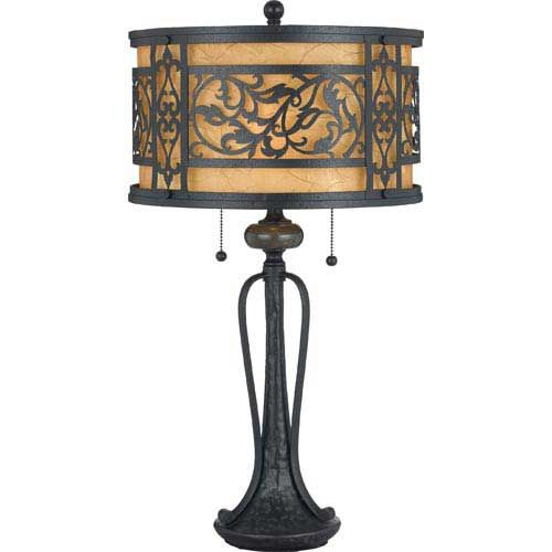 Tuscan Lighting Mystic Black Wrought Iron Table Lamp Art