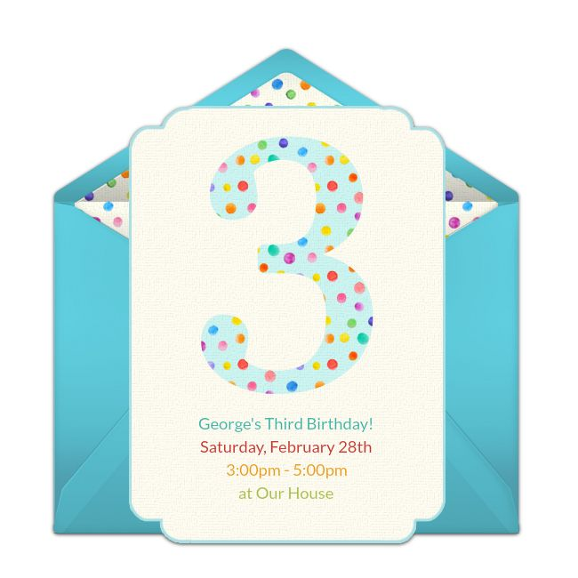 Free 3rd Birthday Dots Invitations