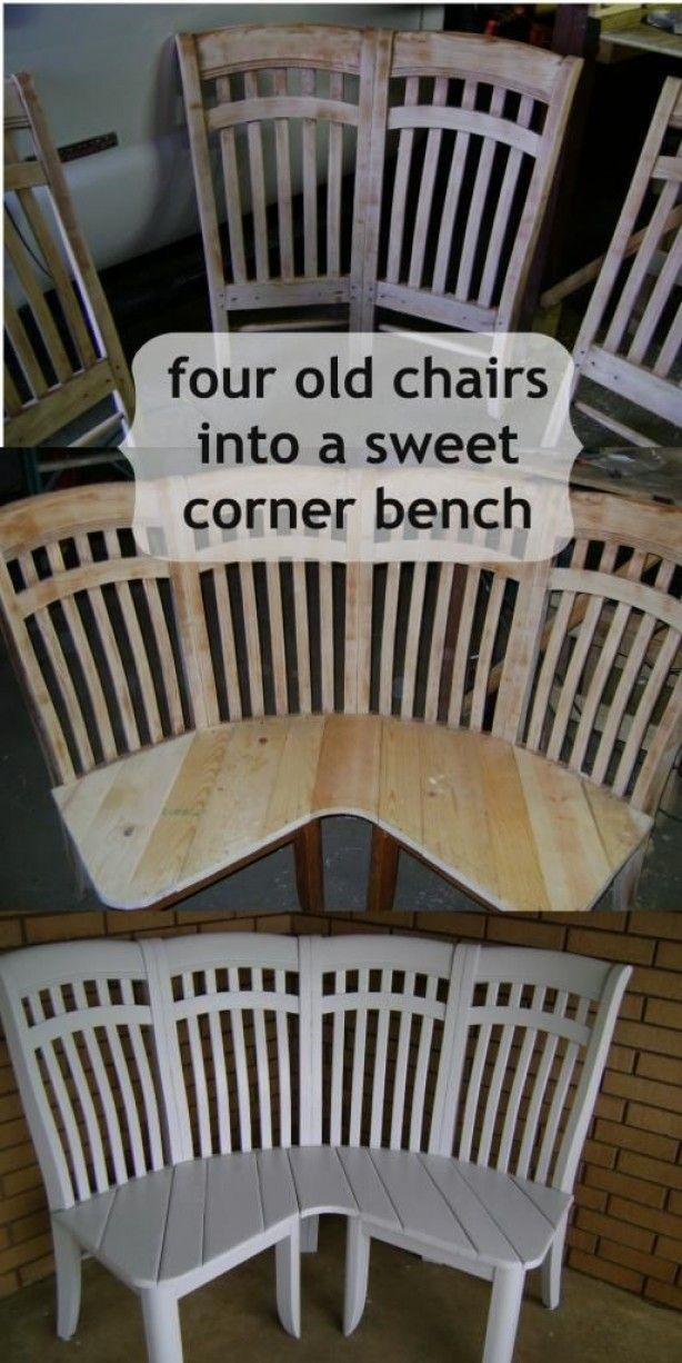 Leuk tuinbank idee. Alleen 4 oude stoelen nodig en wat verf, zaag en spijkers/schroeven