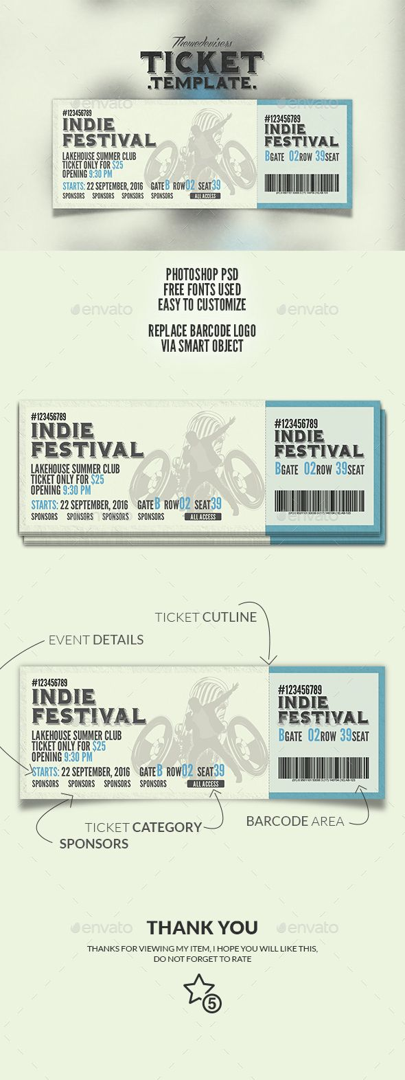 Event Ticket Template PSD. Download here: https://graphicriver.net/item/event-ticket/14759197?ref=ksioks