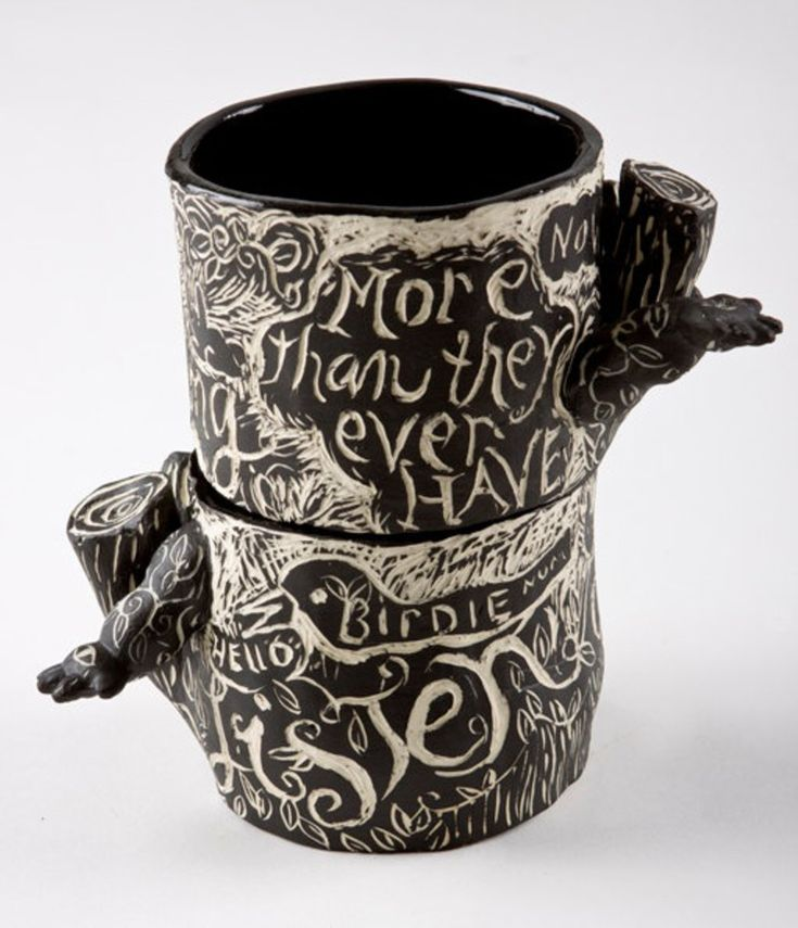 Sgraffito lesson - get students to carve song lyrics, imagery and patterns into a clay vessel