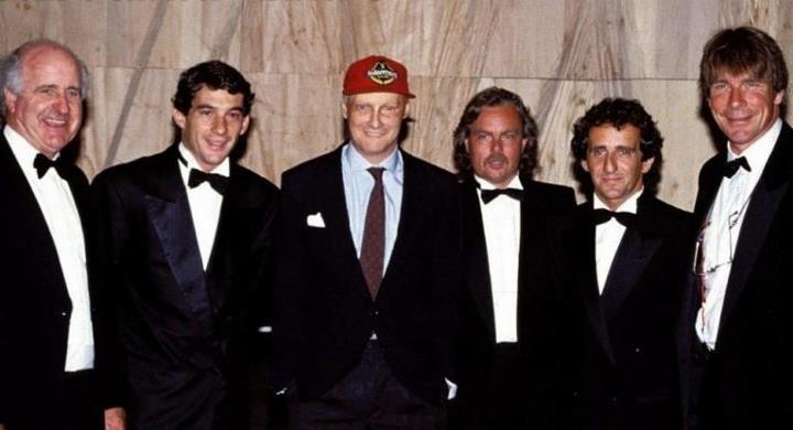 Denny Hulme , Ayrton Senna , Niki Lauda , Keke Rosberg , Alain Prost and James Hunt