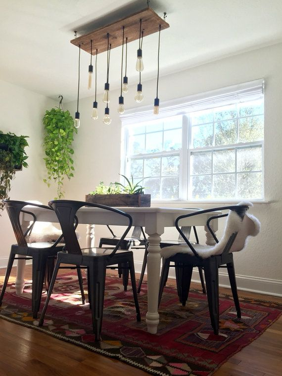 10 Edison LED Rustic Chandelier Pendant Lights Reclaimed Wood Modern Dining Lighting Bulbs
