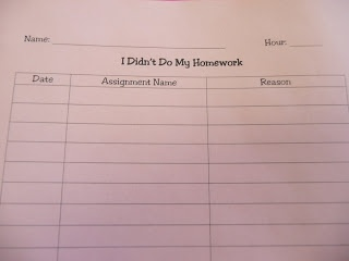 No Homework Binder: While I don't really think homework is particularly effective, this is a good idea. Could be applied to other class expectations.    (Plus a middle school blog is a useful pin)