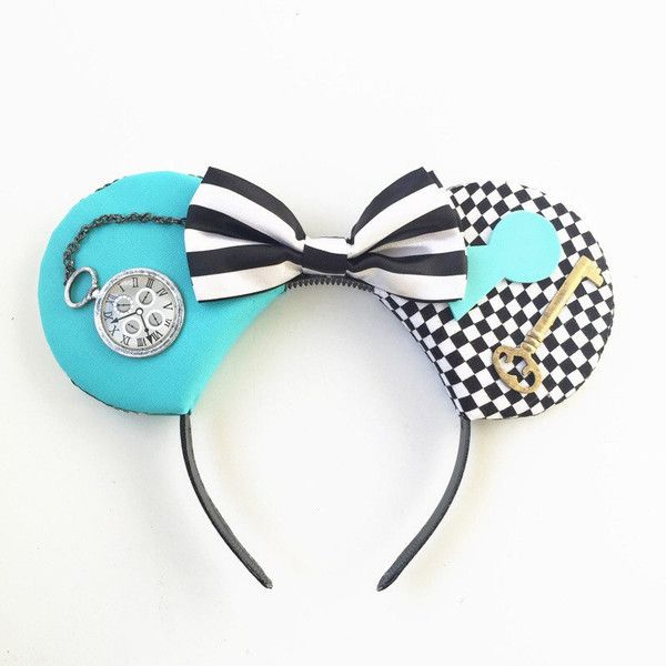 Alice Mouse Ears, Alice in Wonderland, Alice Mickey Ears, Disney... (£20) ❤ liked on Polyvore featuring accessories