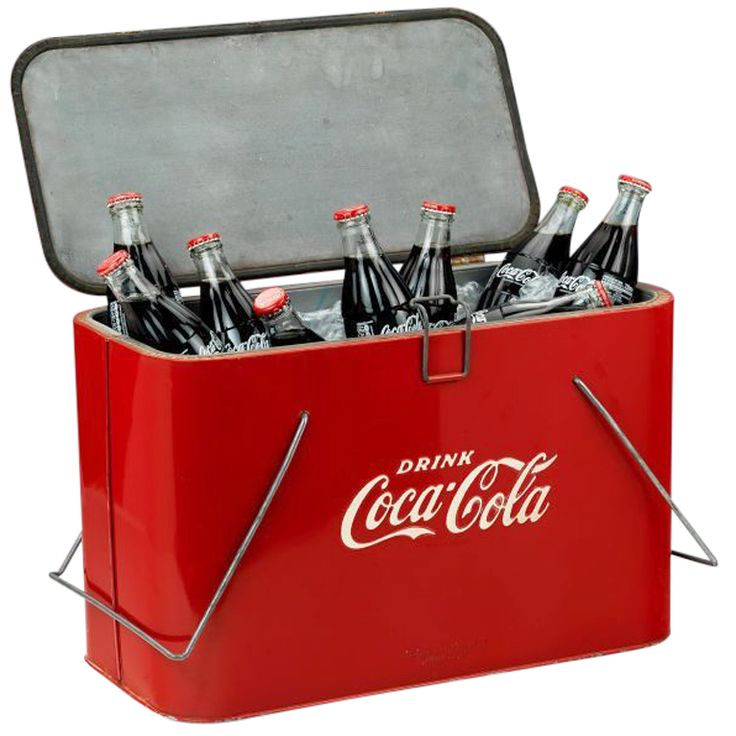 Original 'Coca Cola' picnic cooler, c. 1945 | From a unique collection of antique and modern barware at http://www.1stdibs.com/furniture/dining-entertaining/barware/