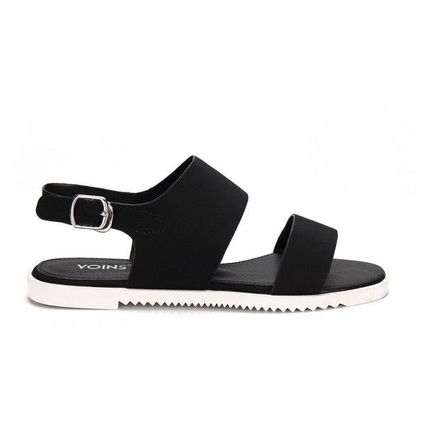 Yoins Black Leather Look Pin Buckle Ankle Strap Simple Style Flat... (720 MXN) ❤ liked on Polyvore featuring shoes, sandals, black, black flat sandals, flats sandals, flat heel sandals, black shoes and black flats