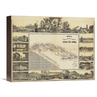 Global Gallery Mapa Historico Pintoresca Moderno de al Isla De Cuba, 1853 by B. y Ca. May Graphic Art on Wrapped Canvas Size: