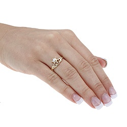 10k Two-tone Gold Diamond Accent Claddagh Ring