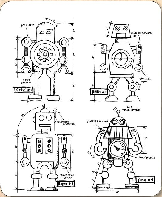 Stamper's Anonymous / Tim Holtz - Cling Mounted Rubber Stamp Set - Robots Blueprints,$21.95