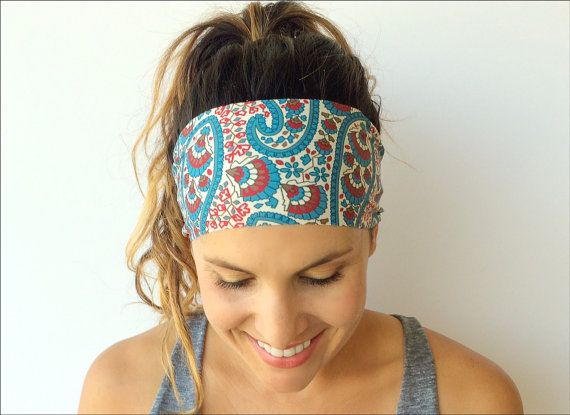 Yoga Headband - Workout Headband - Fitness Headband - Running Headband - Isla Print - Boho Wide Headband on Etsy, $7.00