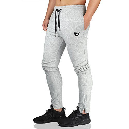 75606bf0b9 BROKIG Mens Zip Joggers Pants - Casual Gym Fitness Trousers ...