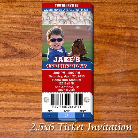 Baseball Party Ticket Invitation on Etsy, $12.99