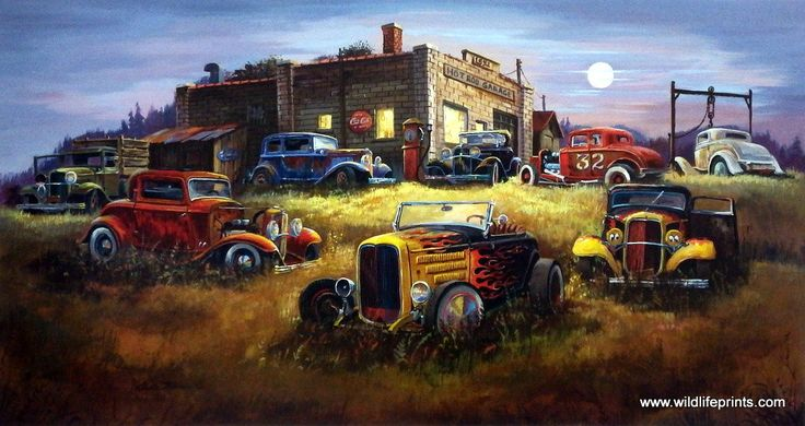 Artist Dale Klee Unframed Hot Rod Racer Print Moonlight Deuces | WildlifePrints.com