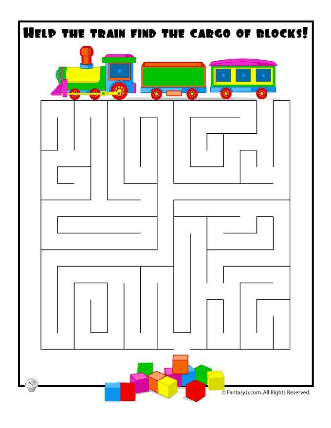 Easy Kids Mazes Easy Train Maze – Fantasy Jr.
