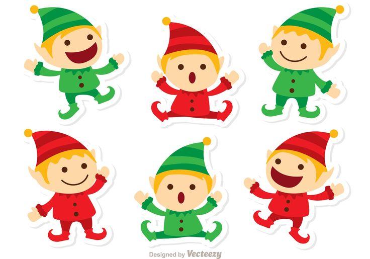 Ilustración de Celebración Santas Duendes de la Navidad - seis poco felices duendes de santas y ayudantes de santas.